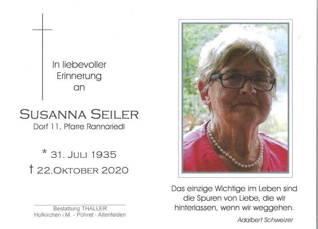 Sterbebild Susanna Seiler
