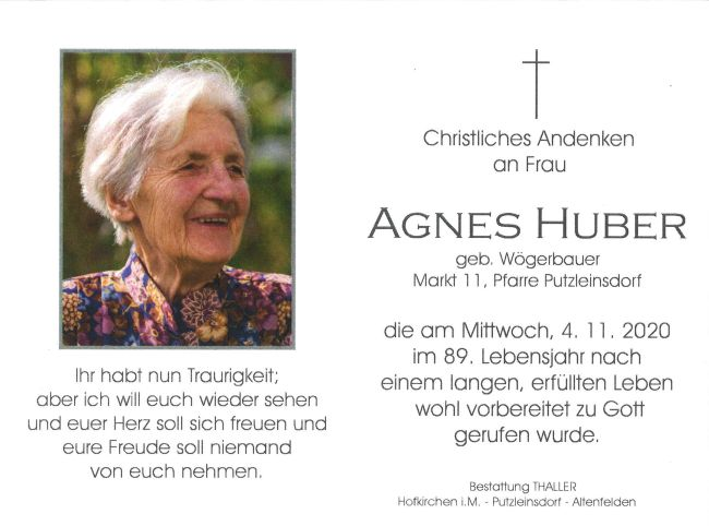 Sterbebild Huber Agnes