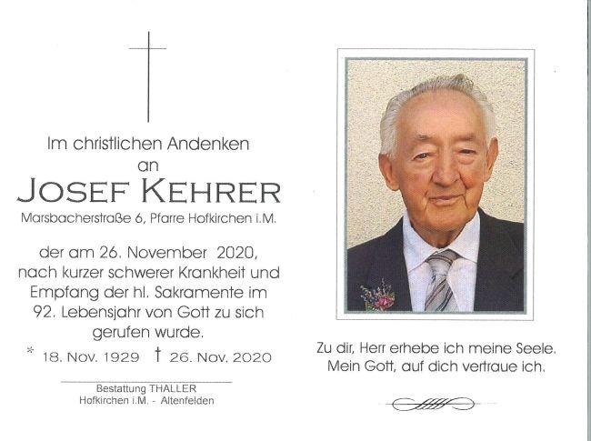 Sterbebild Kehrer Josef