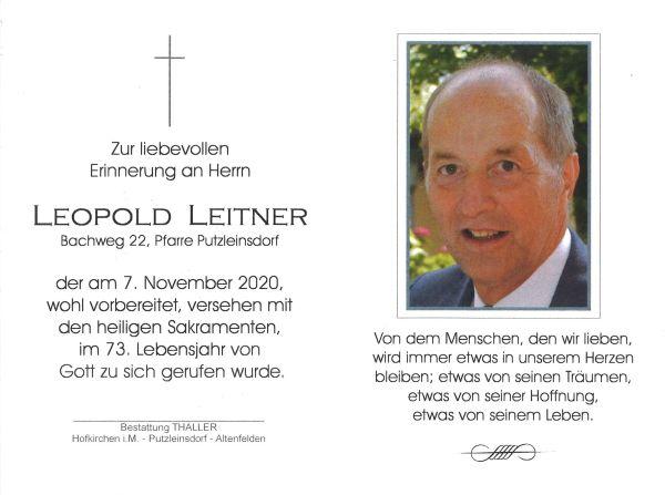 Sterbebild innen Leitner Leopold