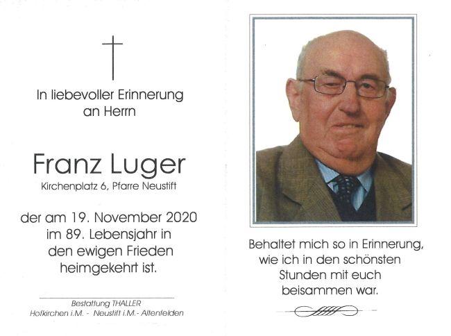 Sterbebild Franz Luger
