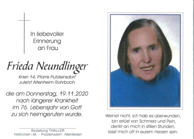 Sterbebild Frieda Neundlinger