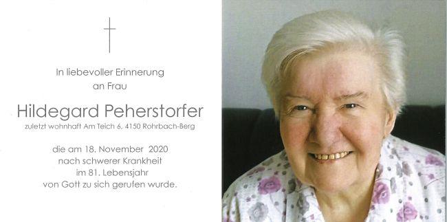 Sterbebild Peherstorfer Hildegard