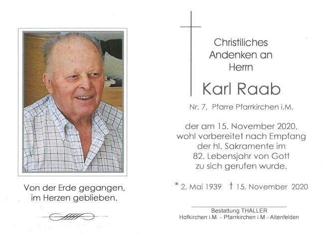 Sterbebild Raab Karl