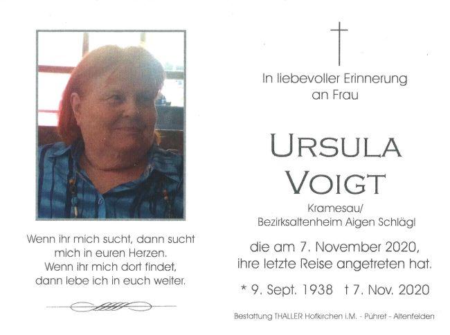 Sterbebild Ursula Voigt
