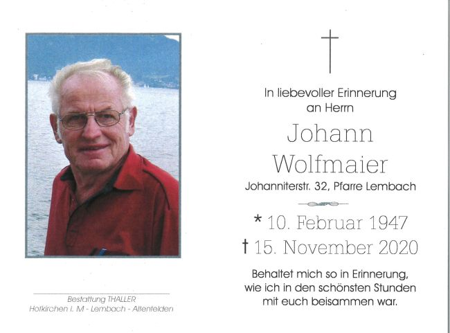 Sterbebild Wolfmaier Johann