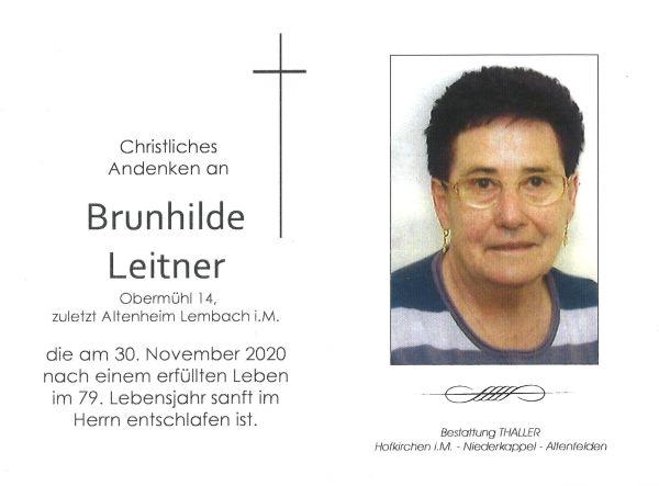 Sterbebild Leitner Brunhilde