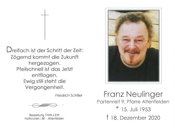Sterbebild Neulinger Franz