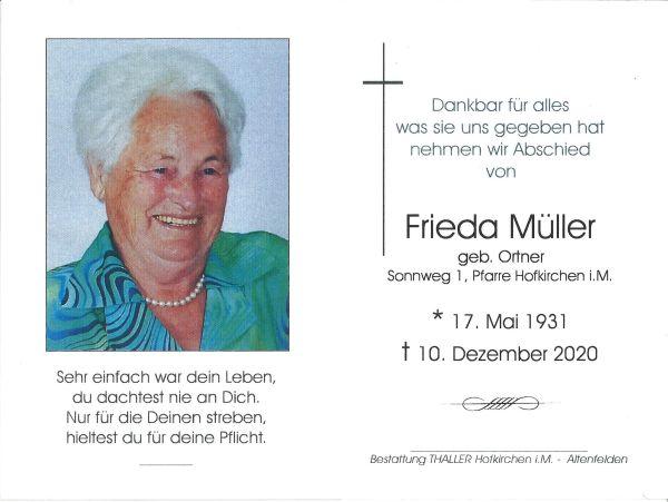 Sterbebild Müller Frieda