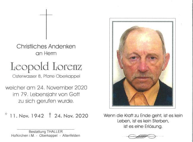 Sterbebild Lorenz Leopold