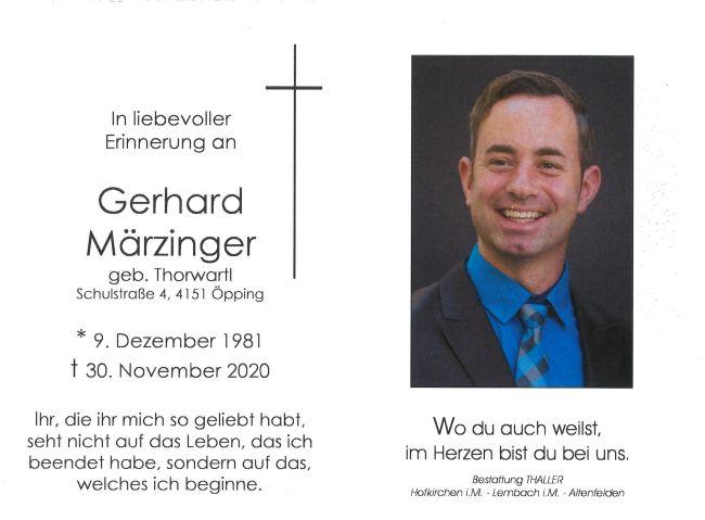 Sterbebild Märzinger Gerhard