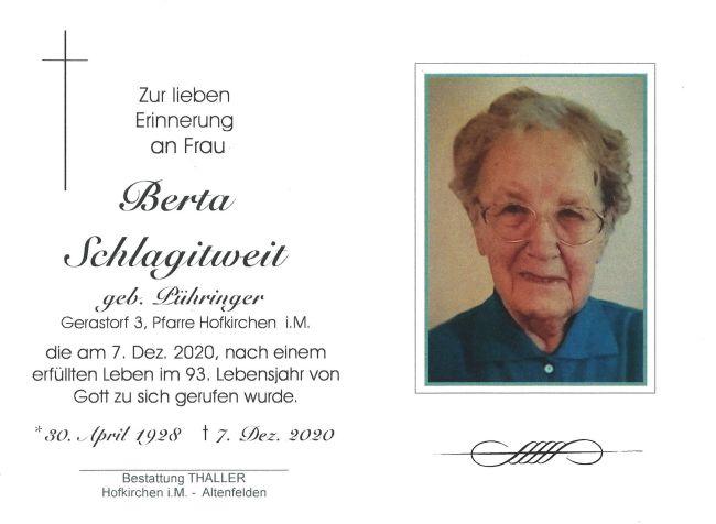 Sterbebild Schlagitweit Berta