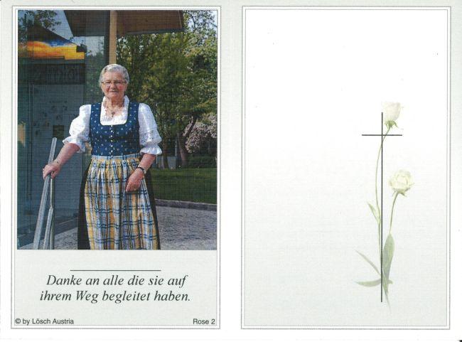 Sterbebild aussen Königsdorfer Berta