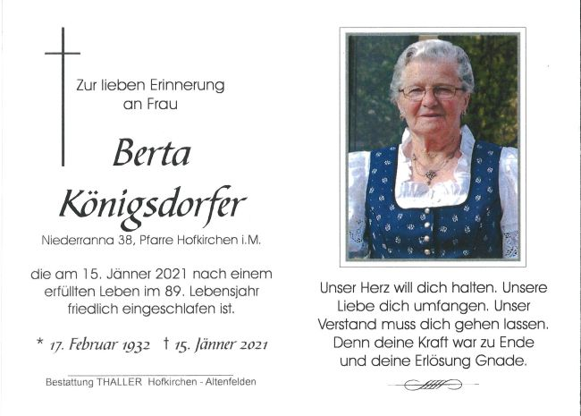 Sterbebild innen Königsdorfer Berta