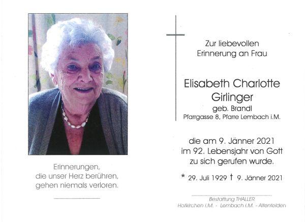 Sterbebild innen Girlinger Elisabeth Charlotte