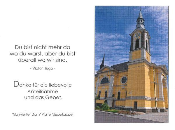 Sterbebild aussen Hofmann Franz