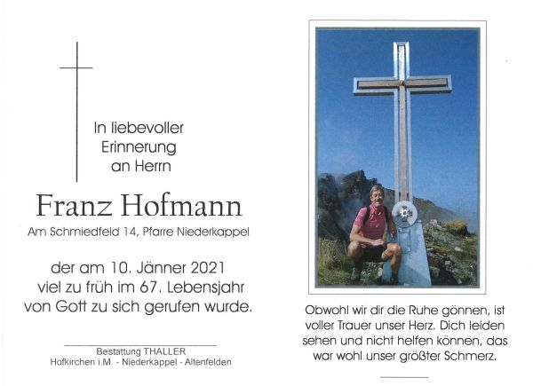 Sterbebild innen Hofmann Franz