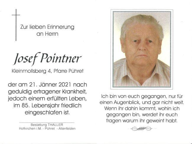 Sterbebild Pointner Josef