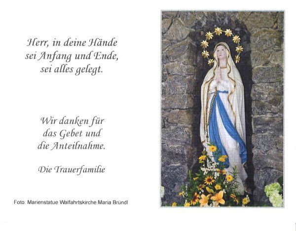 Sterbebild aussen Schaubmayr Mathilde