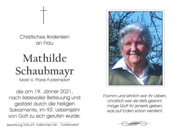 Sterbebild innen Schaubmayr Mathilde