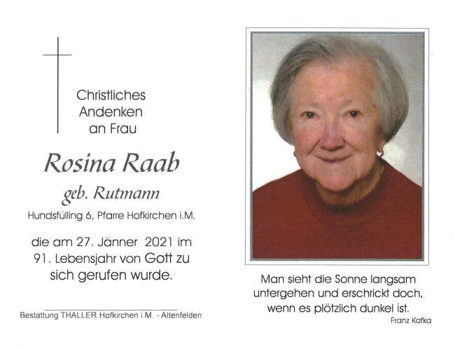 Sterbebild Rosina Raab