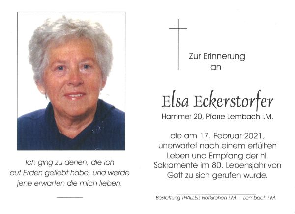 Sterbebild Eckerstofer Elsa