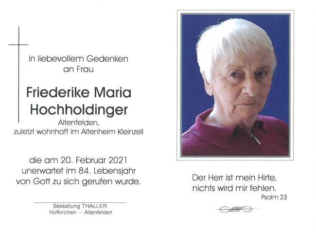 Sterbebild Hochholdinger Friederike Maria