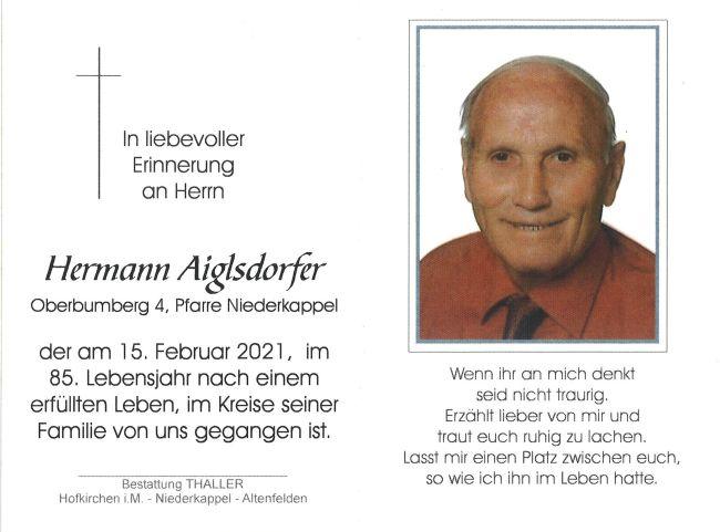 Sterbebild Aiglsdorfer Hermann