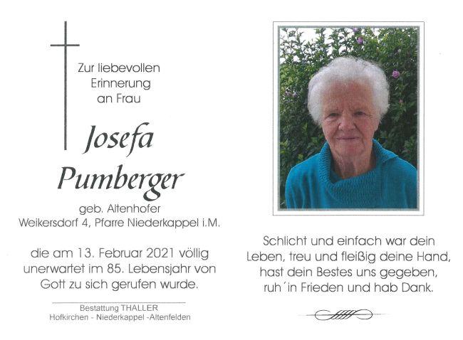 Sterbebild Pumberger Josefa