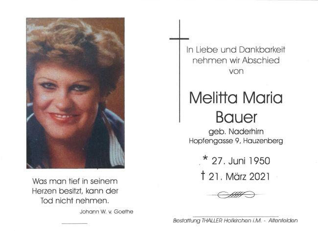 Sterbebild Melitta Maria Bauer