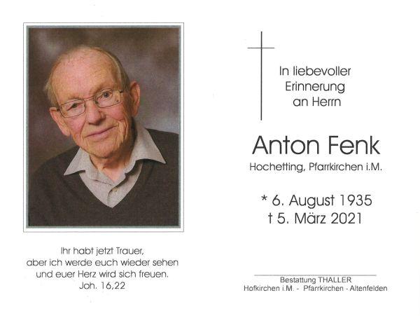 Sterbebild innen Fenk Anton
