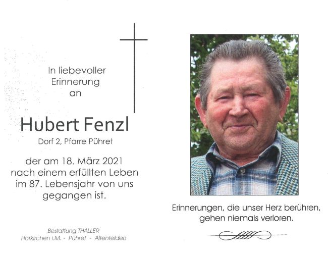 Sterbebild Fenzl Hubert