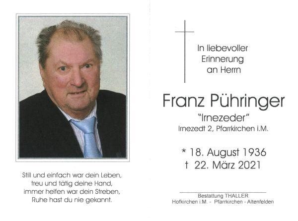 Sterbebild Pühringer Franz