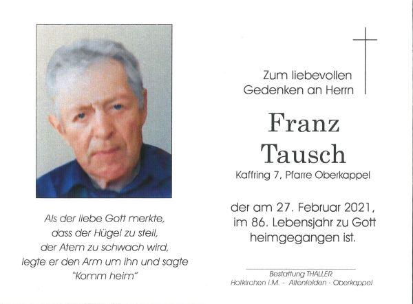 Sterbebild Tausch Franz