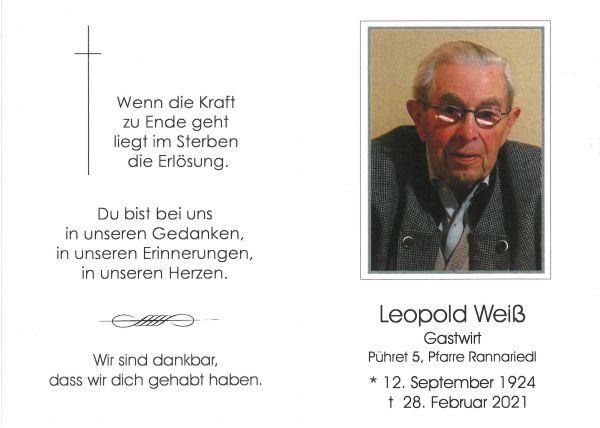 Sterbebild Weiß Leopold