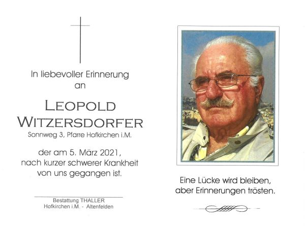 Sterbebild innen Witzersdorfer Leopold