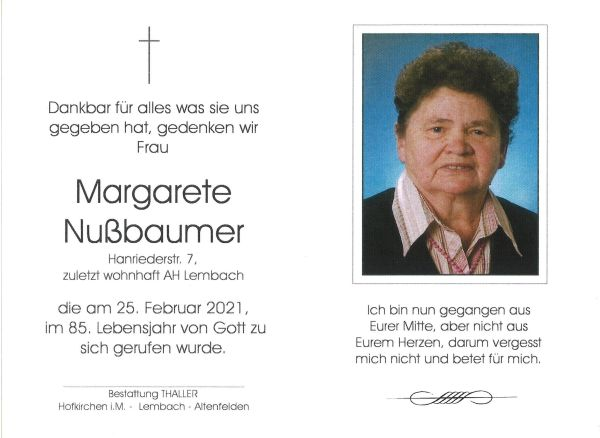 Sterbebild Nußbaumer Margarete