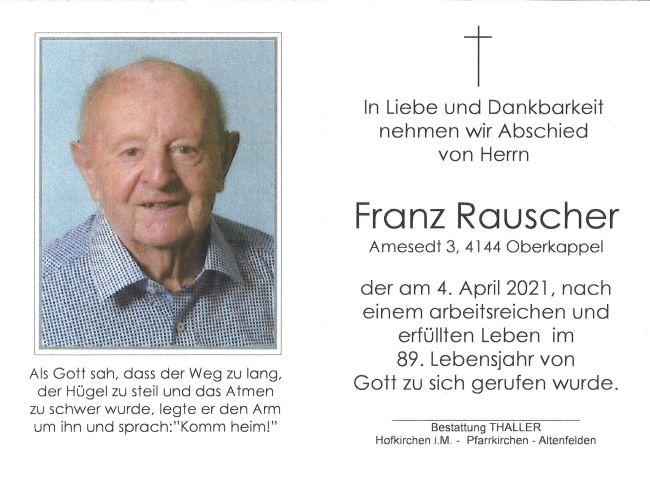 Sterbebild Rauscher Franz
