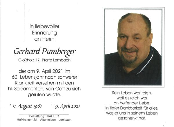 Sterbebild Pumberger Gerhard