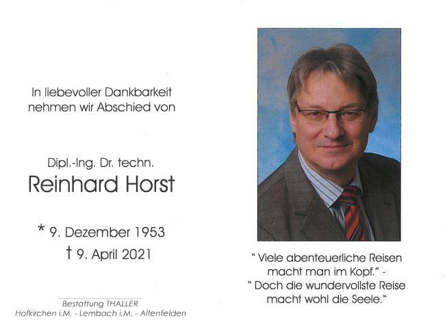 Sterbebild Dipl.-Ing Dr. techn. Horst Reinhard