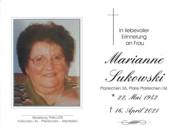 Sterbebild innen Sukowski Marianne