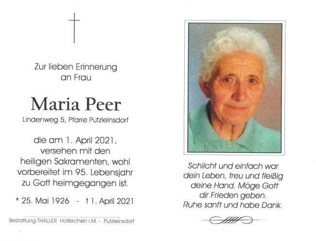 Sterbebild Peer Maria