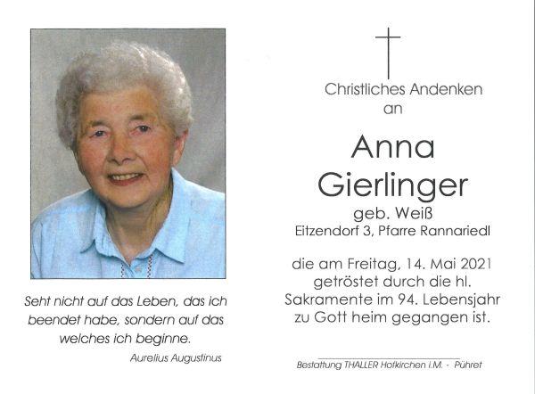 Sterbebild innen Gierlinger Anna