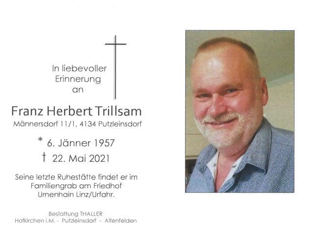 Sterbebild Trillsam Franz Herbert