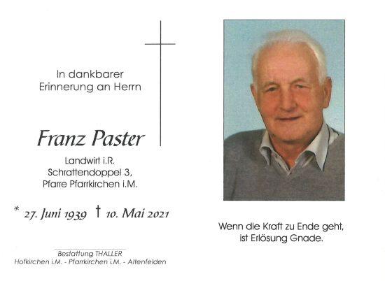 Sterbebild innen Paster Franz