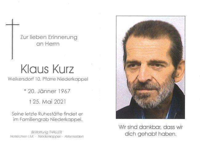 Sterbebild Kurz Klaus