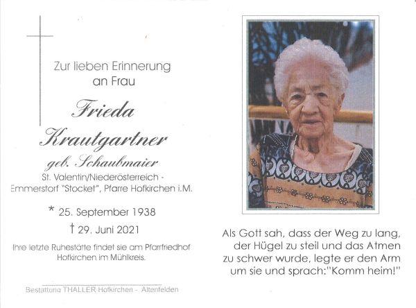 Sterbebild innen Krautgartner Frieda