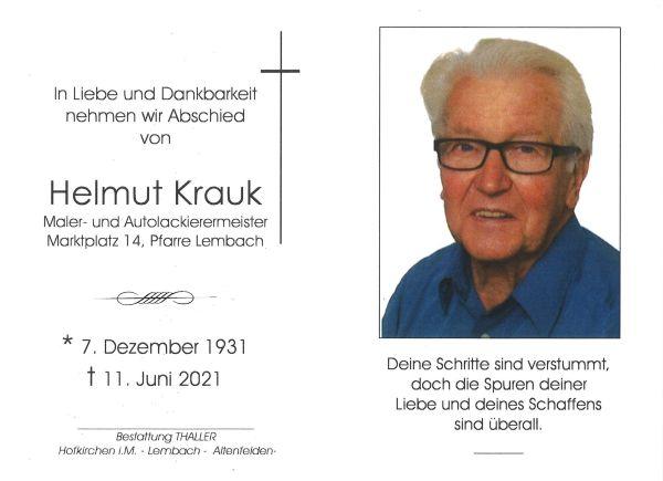 Sterbebild innen Krauk Helmut