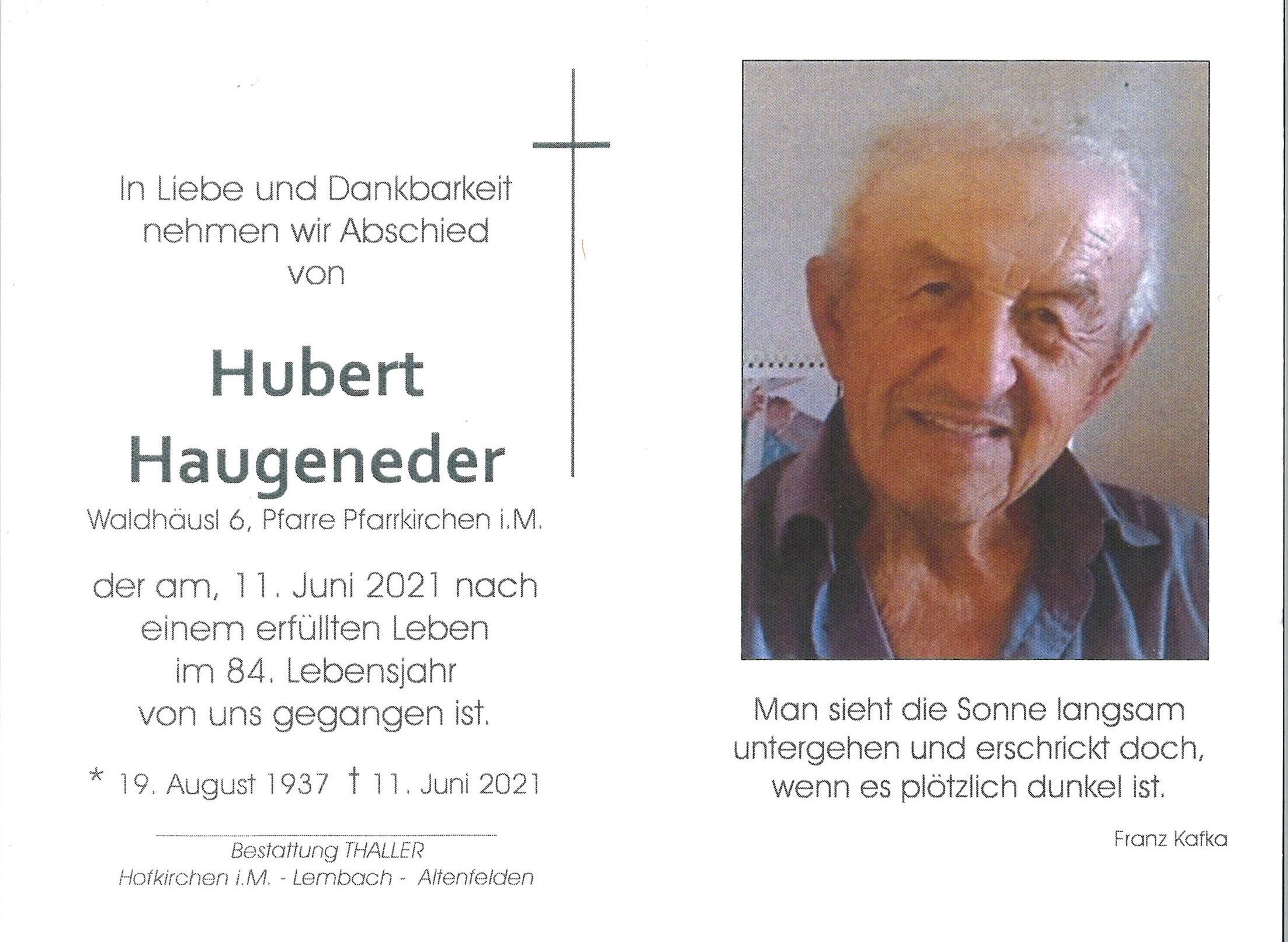 Sterbebild Haugeneder Hubert