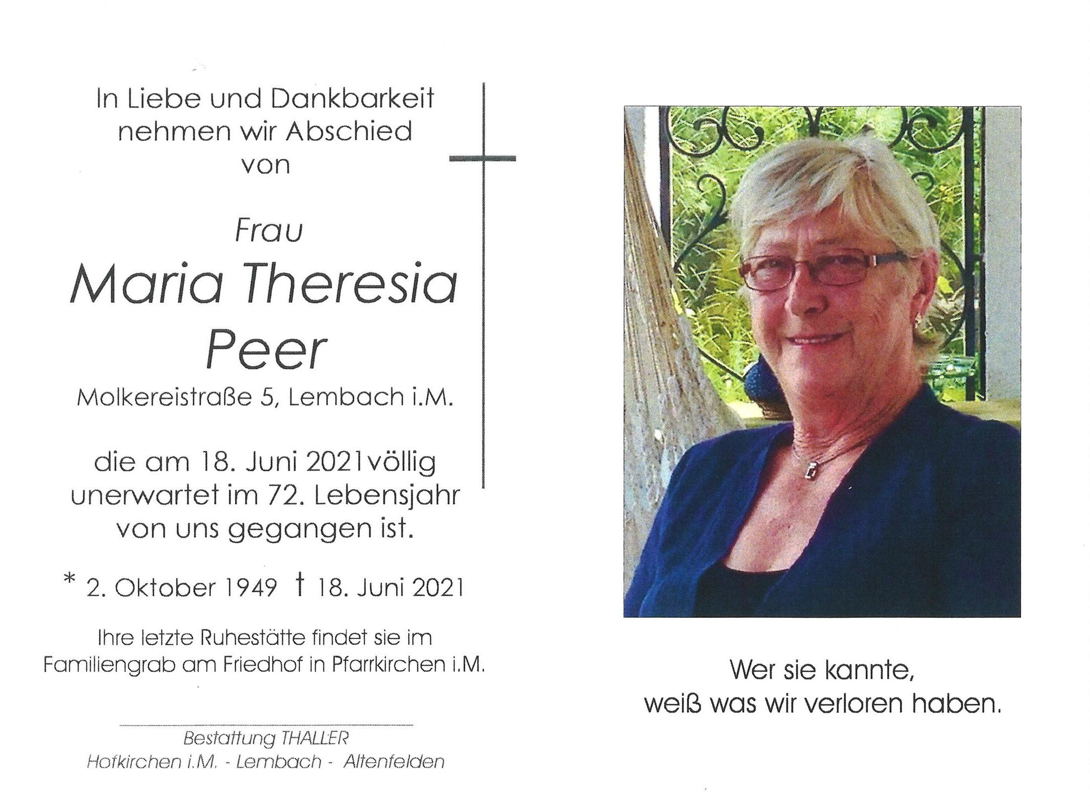 Sterbebild Peer Maria Theresia